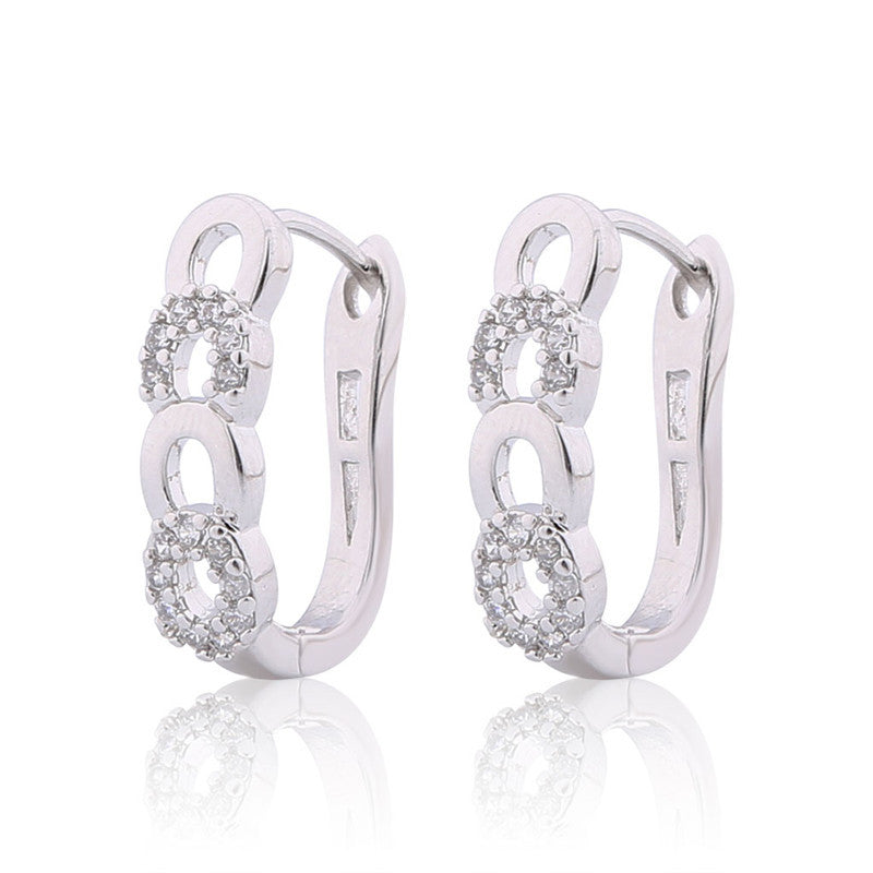 New Style Ladies Huggie Earrings Fashion Desirable Round Brilliant White Crystal Earing Woman Hoop Earring