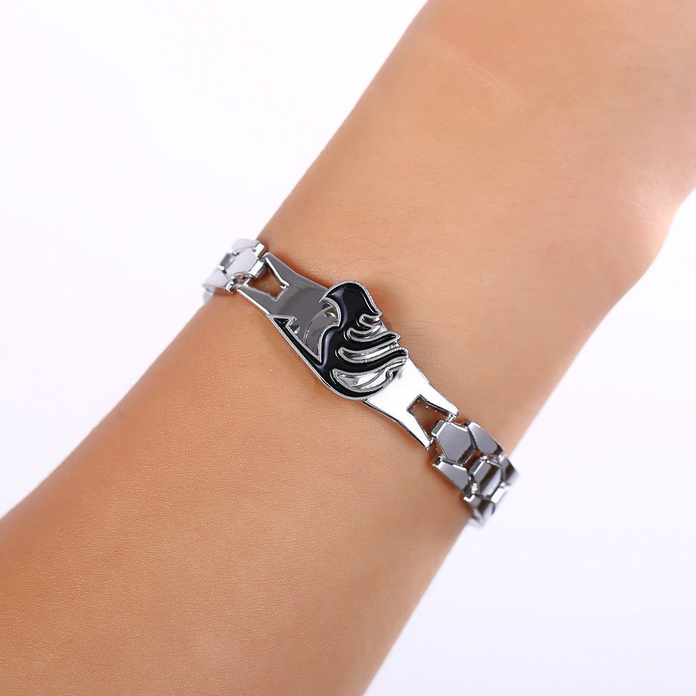 Hot Anime Silver Alloy Bracelets Fairy Tail Rotation Cosplay Accessories Metal Bangle