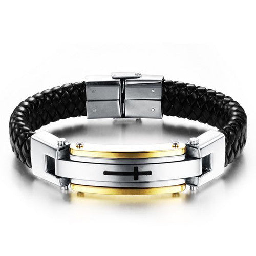 FASHION Men Jewelry Cross Leather Rope Chain Stainless Steel Bracelet Vintage Bangles Man Punk Accessories Pulseras