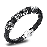 Men's Punk Jewelry Black Leather Rope Bracelets Stainless Steel Magnet Buckle Wristbands Man Vintage Bangles
