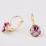 Red Blue Crystals Hoops Earings Brinco Fine Jewelry Gold Plated Brand Design Earrings for Women