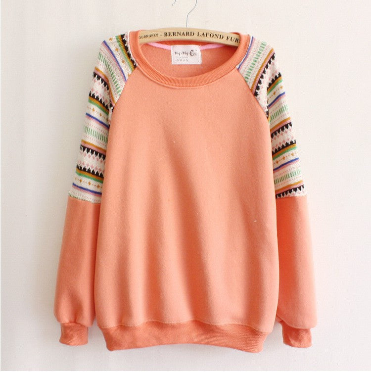 Mix color knitted embroidery sleeve high quality fleece inside winter women's hoodies warm sweatshirts
