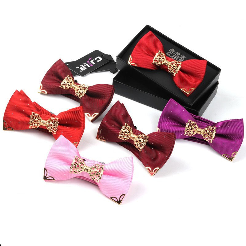 Mantieqingway Fashion Metal Male Silver Dots Bow Ties Wedding Married Groom Bowties Neckwear Decoration Business Cravats Bowknot