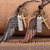 Maxi Colar Masculio Couro Male Leather Necklace Angel Wings Neckless Men Best Friends Neclace Friendship Jewelery