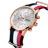 MEGIR Mens Watches Top Brand Luxury Men Leather nylon Strap Watches Chronograph Function Quartz Wristwatch