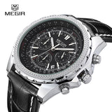 Megir fashion casual stop watches for men luminous running brand watch for man leather quartz watch male
