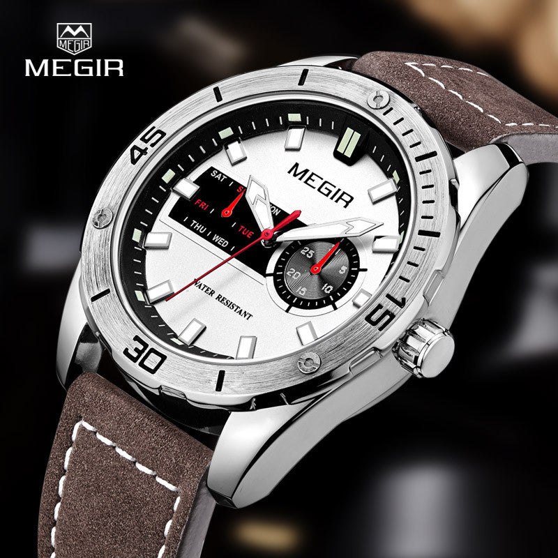 Megir hot men's watches fashion leather quartz watch man relogio top brand wrist watch luxury male luminous hour