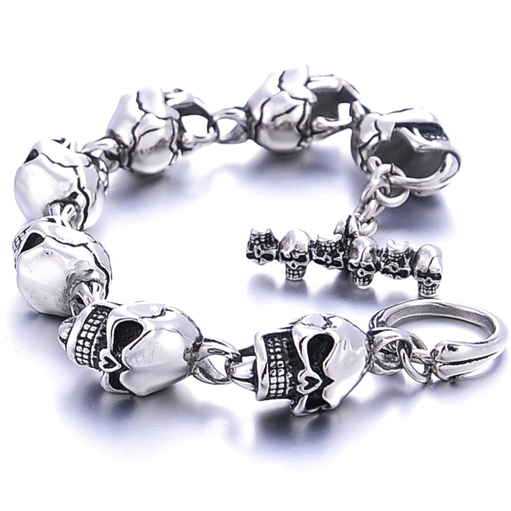 Men Bracelet Jewelry 1PC Men 316L Stainless Steel 7 Skulls Gothic Punk Bracelet For Boyfriend & Girlfriend Accessories Gift