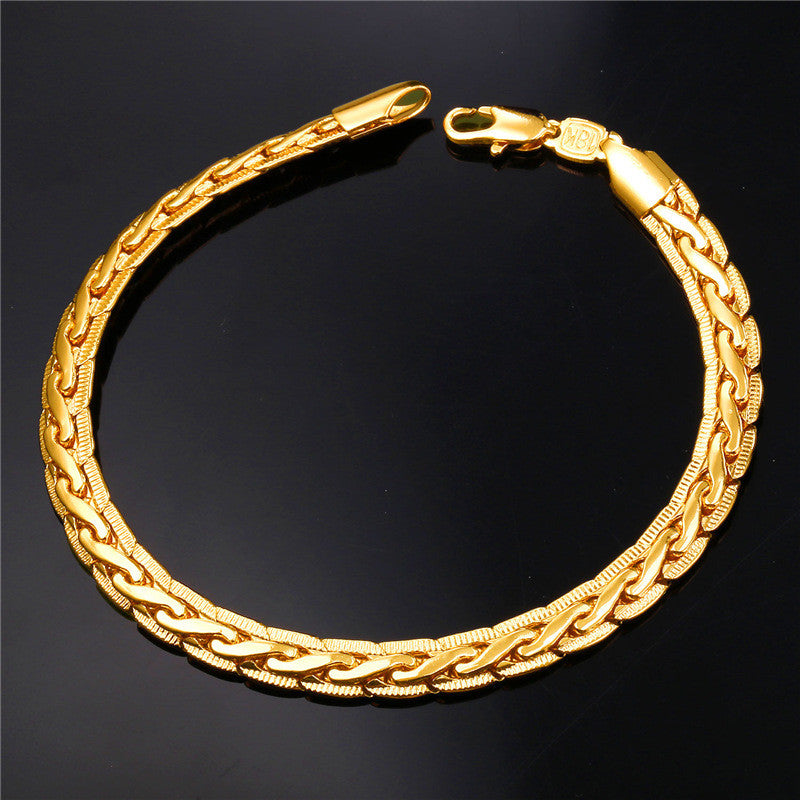 Men Jewelry Vintage Bracelet 18K Stamp 18K Gold Plated Fashion Jewelry 6MM 21CM Men Accessories Gold Bracelet