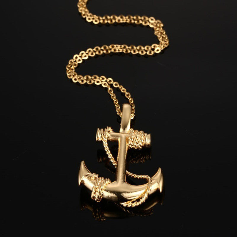 Men Stainless Steel Necklace 18K Gold Plated Titanium Anchor Pendant Jewelry 50mm Length Steel Chain Necklace Gift for Boyfriend