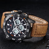 Men Watches NAVIFORCE Luxury Brand Genuine Leather Quartz Clock Digital LED Watch Army Military Sport Watch