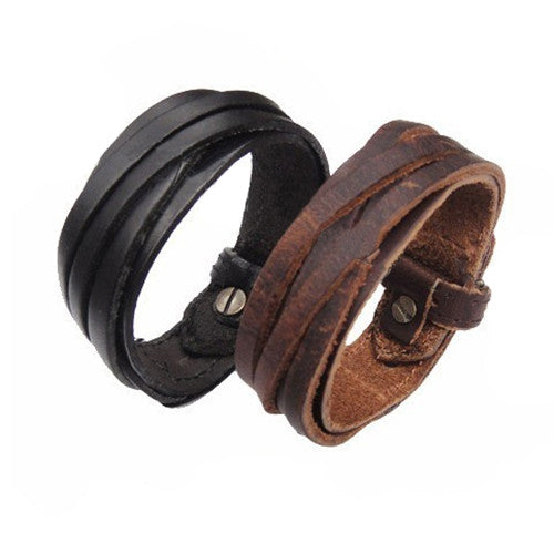 Men Women Unisex Multi thong braided thin Genuine Leather Bracelet wristband Jewelry