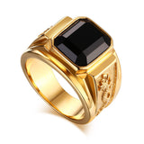 Men's Gold Plated Ring Black Large Agate Stone 316L Stainless Steel Jewelry For Men Rhineston Charm Wedding Dragon Rings Men