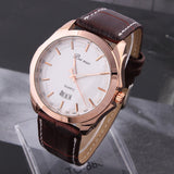 Men's Leather Watches Analog rose gold Steel Case Quartz Watch with Calendar Fashion Casual Wristwatch