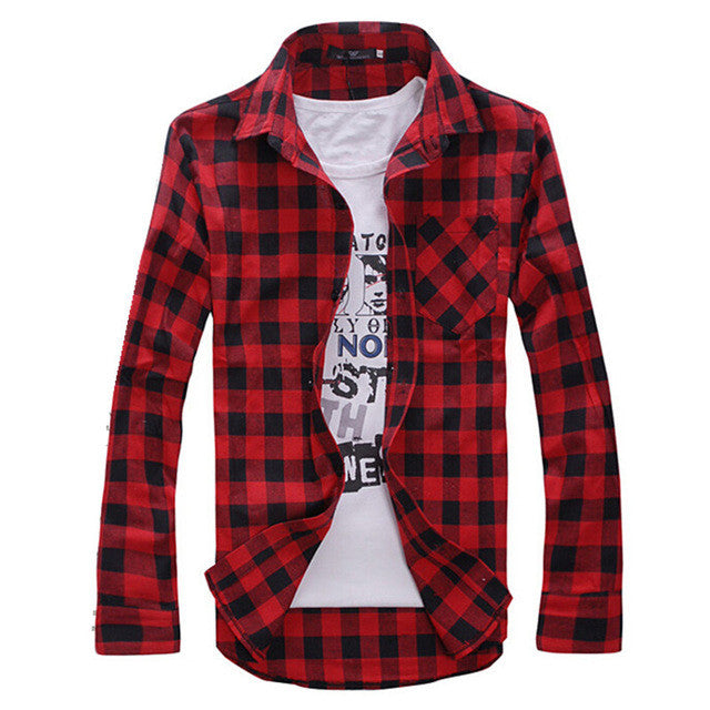 Men's Plaid Shirts Fashion 2015 Autumn New Men Casual Long Sleeve Shirt Male Slim Fit Shirts