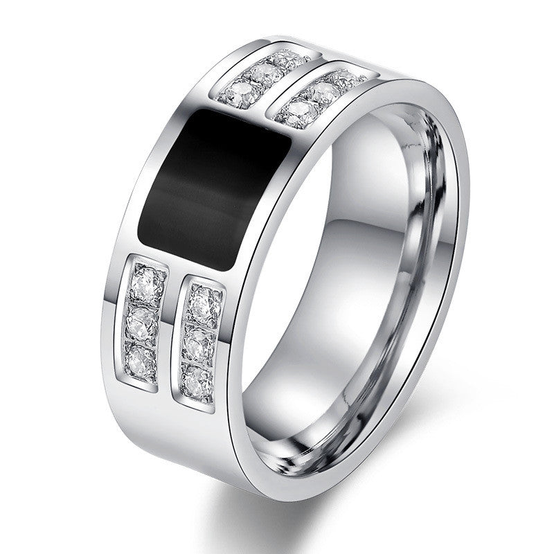 Men's Ring Jewelry Stainless Steel Beauty Crystal Mens Ring With CZ Stone Male Cool Party Jewelry