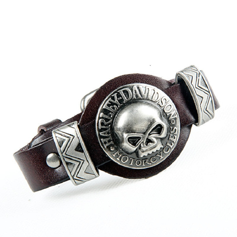 Men Bracelet Jewelry Cool Skull Wristband Bracelet for Women Punk Rock Genuine Leather Bracelets