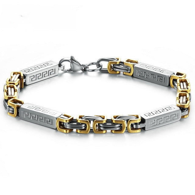Men Jewelry Champaign Gold Plated stainless steel bracelet Men's link chain bracelet Unique Style