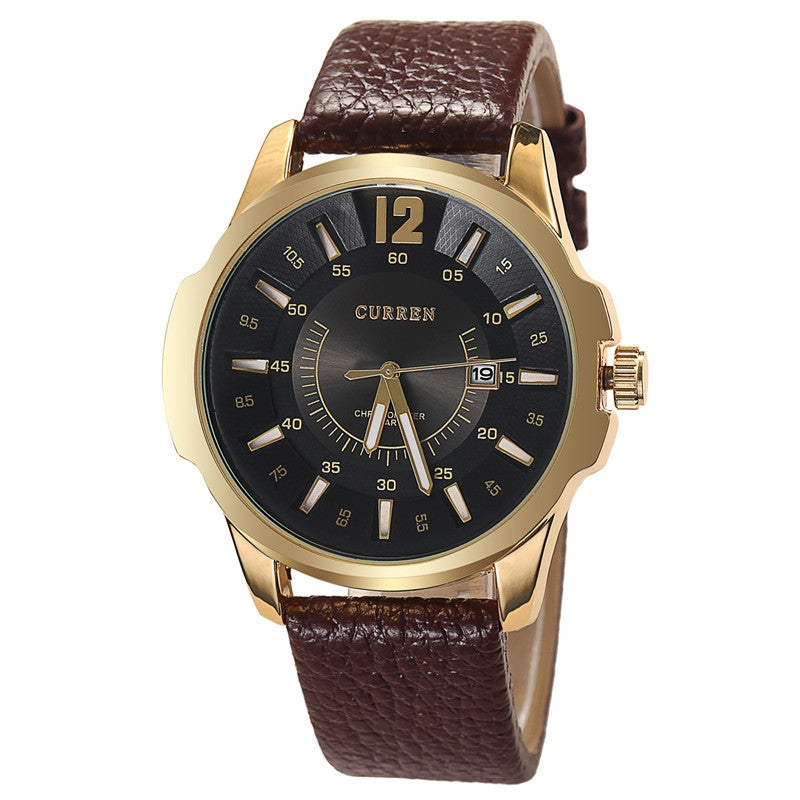Men Sport Watches Casual Quartz Watch Leather Strap Wristwatch New Fashion Men Business Watch