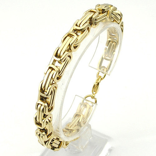 Men's Bracelets Gold Chain Link Bracelet Stainless Steel 8mm Width