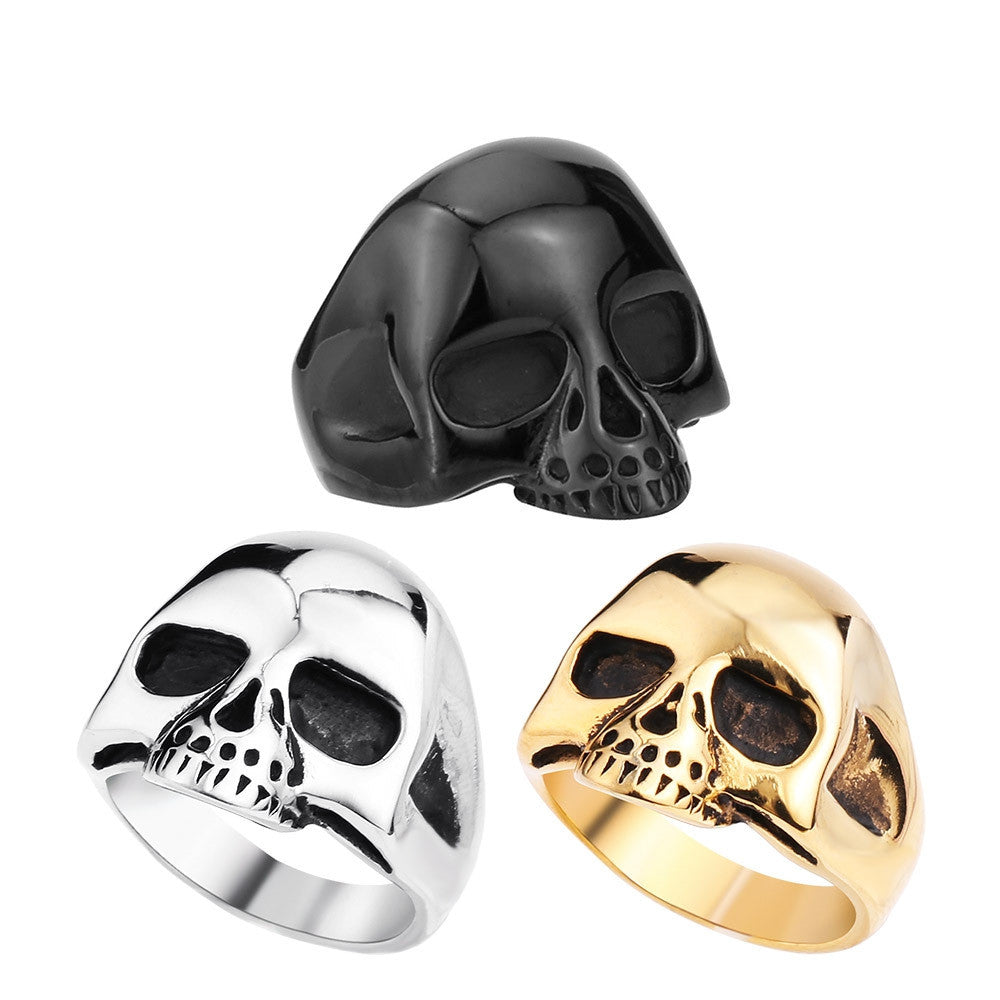 Men's Fashion Punk Black/Silver/Gold Alien Skull Rings Man 316L Stanless Steel Fashion Jewelry