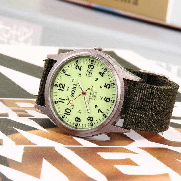 Men's outdoor sports new watch soki canvas brand military watches,automatic accurate calendar watch,leisure fashion watches