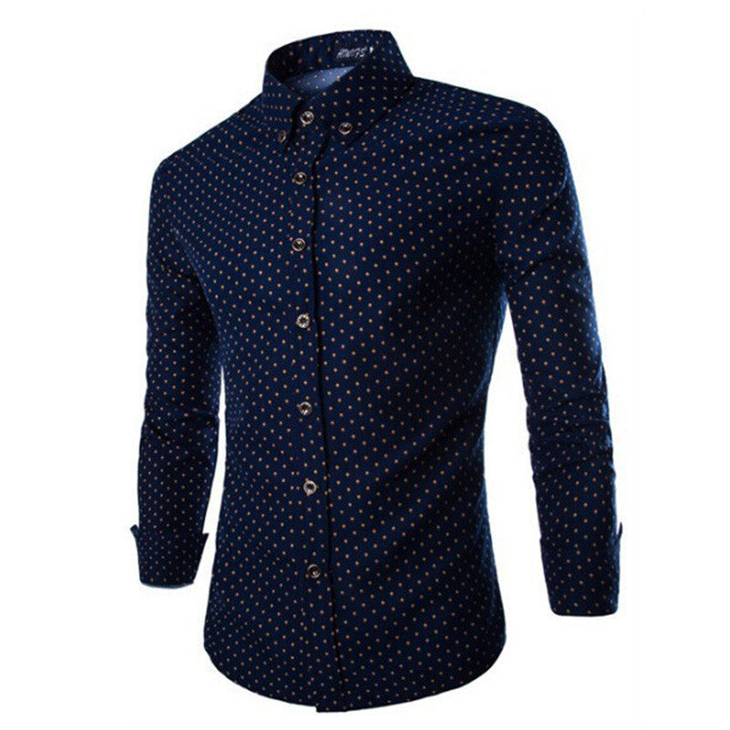 Mens Dress Shirts 2015 Brand New Men Cotton Business Slim Fit Polka Dot Long Sleeve French Cuff Social Shirt