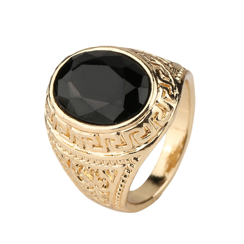Men's Rings Black Precious Stones Real 18K Gold Ring For Men Retro Texture Engraving Modelling Is Simple And Generous