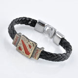 Metal Dotas 2 Game Leather Bracelet Men Bracelet Men Jewelry Boy Gift Cosplay Bangles Feather Braided Wristband Bracelet