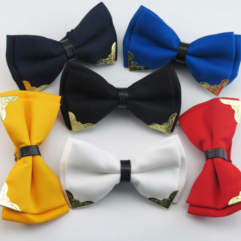 Metal Head Solid Bowtie Black White Classic Bow Ties For Men Wedding Shirt Dress Accessories Christmas Gifts gravata cravate