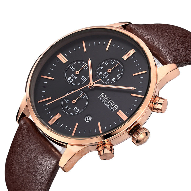 Military Watch Relogio Masculino Men Top Brand MEGIR Genuine Leather Strap Men Watches Chronograph 6 Hands Auto Function Watches