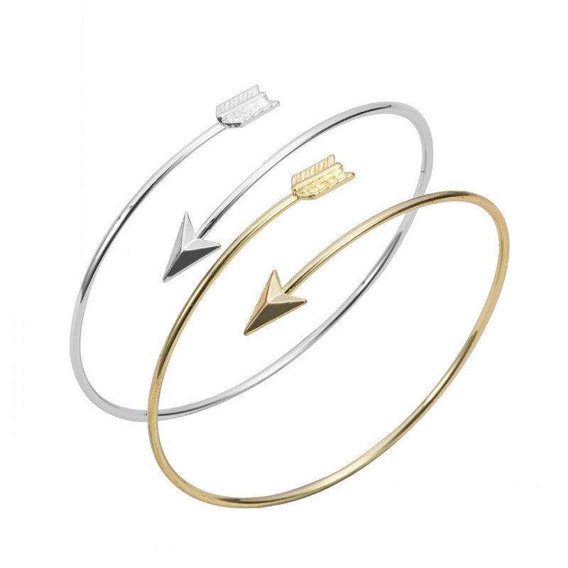 Gold and silver Adjustable Arrow Bangle Bracelets Wire bracelet bangles Simple Wrapped bangles women bangles