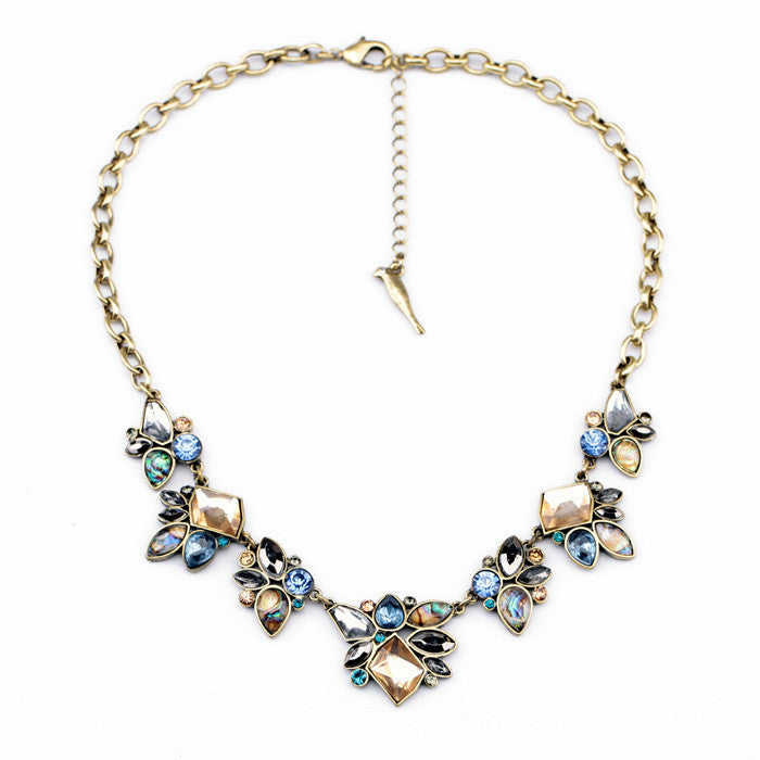 Mixed Color Crystal Pendants Women Statement Necklace Fashion Jewelry