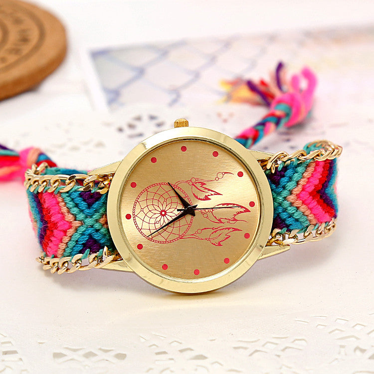 Mori Girl style women wristwatch New Brand gold dress watch Handmade Braided Friendship Bracelet Watch ladies Quarzt Watch