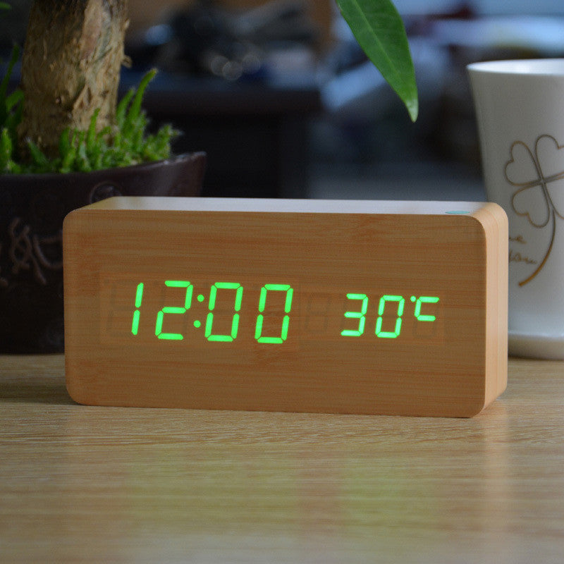 Sounds control novel alarm clocks 4 color LED Display Office wooden desk clock Sylish table clock