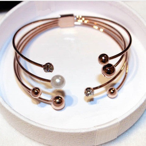 Multi-layer Rose Gold Plated Cuff Bracelets For Women Bangle Open Design Classic Fashion Jewelry Cute Gift