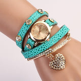 New Fashion Women Dress Watches Leather Strap Wristwatches Ladies Quartz Long Chain Luxury Heart Top Brand Casual