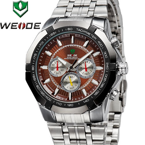 WEIDE Watches Men Military Quartz Sports Diver Watch Full Steel Luxury Brand Fashion Army Wristwatch