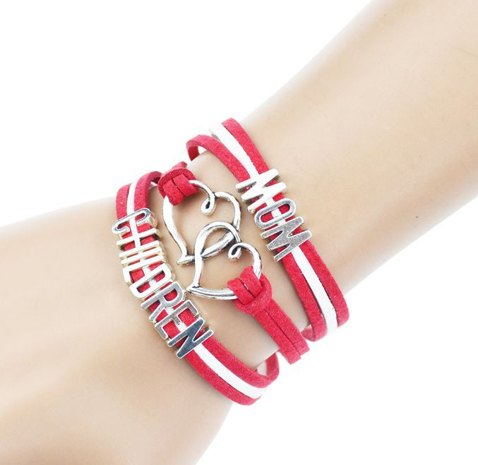 Multilayer Braided Bracelets Antique Alloy Mom Children Alphabet Charm Bracelet Korea Cashmere Leather Bracelet Bangle