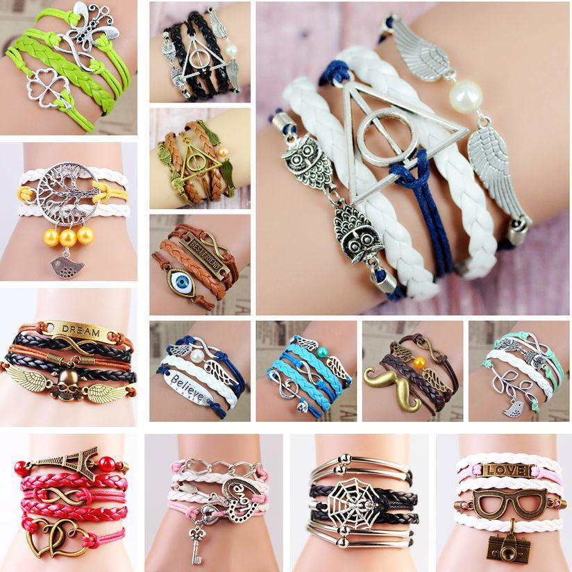 Multilayer Braided Bracelets Vintage Owl Harry Potter wings infinity bracelet Multicolor woven leather bracelet & Bangle