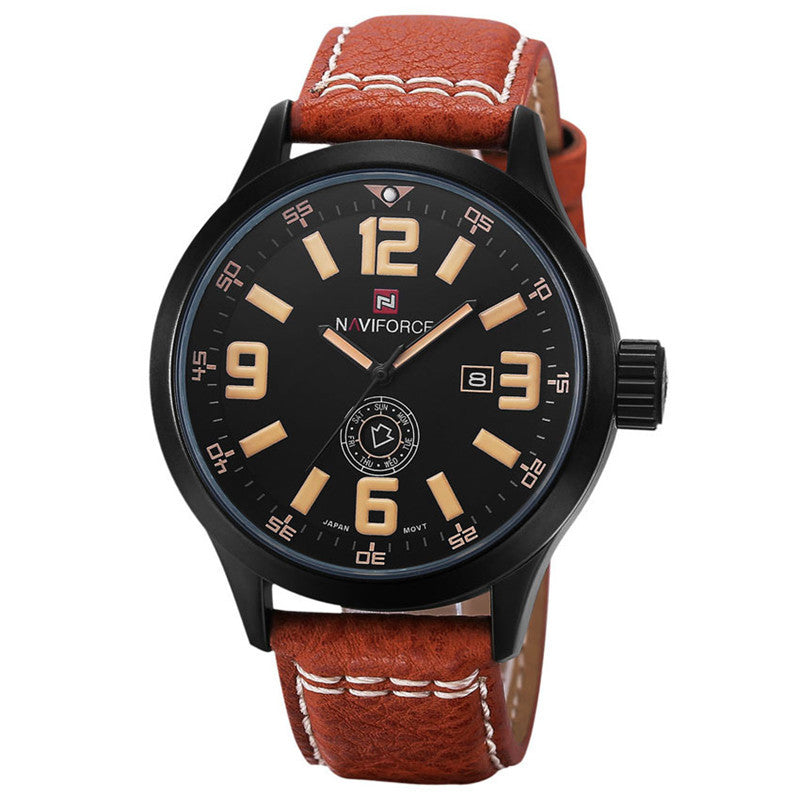 NAVIFORCE Luxury Brand Genuine Leather Strap Analog Date Men's Quartz Watch Casual Watches Men Wristwatch relogio masculino