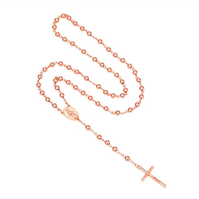 NEW Catholic Virgen de Guadalupe Rose Gold Plated Rosary Necklace 6mm*6mm Beads Crucifix Cross Pendant