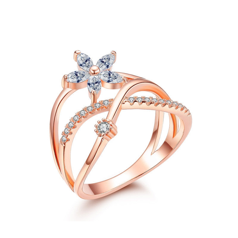 Delicate Flower Finger Ring Rose Gold And White Gold Plated Paved Tiny Zirconia Diamond Jewelry For Christmas Gifts