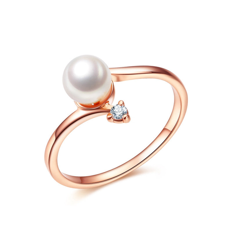 Fashion Rose Gold Plated 1Pcs Simulated Pearl And 1pcs Tiny Rhinestones Accent Bypass Rings For Women Christmas Gifts