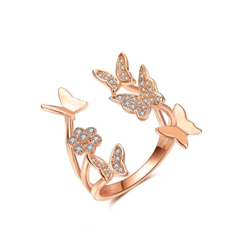 Lovely Ladies Butterfly Ring Rose Gold Plated Open Rings For Women With Top Quality Cubic Zirconia Stone Jewelry Gifts