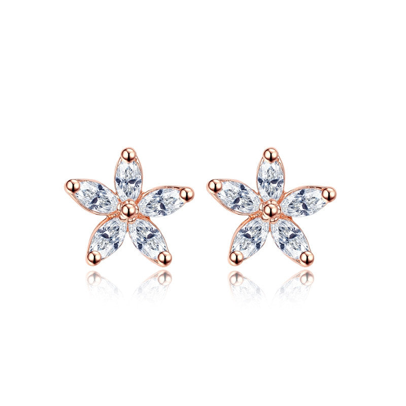 25.00  Rose Gold Plated Earrings Delicate 5pcs CZ Flower Stud Earrings  Fashion Jewelry Valentine s Day Gifts 565f422ac8ab