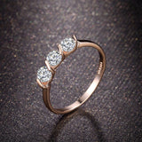 Rose Gold Plated Rings For Women 0.25ct 3 Pieces CZ Diamond Jewelry Tension Setting Gift