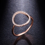 Sparkling Hoop Ring Pave Cubic Zirconia Diamond Rose Gold And White Gold Plated Fashion Circle Rings Jewelry