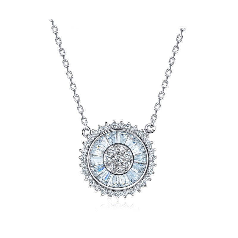 Unique Luxury Necklace Jewelry Sun Shaped Round Colar Pendant Cubic Zirconia White Gold Plated Necklace Women Bijoux