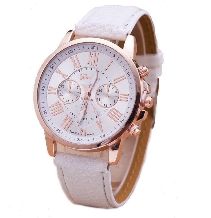 NEW Best Quality Geneva Platinum Watch Women PU Leather wristwatch casual dress watch reloj ladies gold gift Fashion Roman